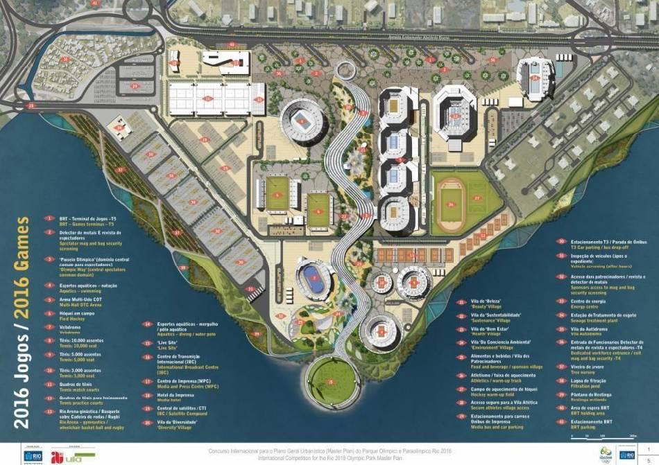 A proposta vencedora para a construção do Parque Olímpicoprojetada pela firma britânica Aecom mantém a Vila Autódromo. O bairro pode ser visto no canto superior esquerdo (Fonte: www.rio2016.com).